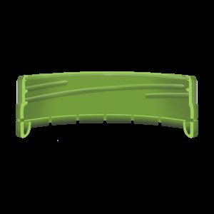 Illustration d'un bouchon à vis avec une bande d'inviolabilité droite moulée pliée - coupe transversale