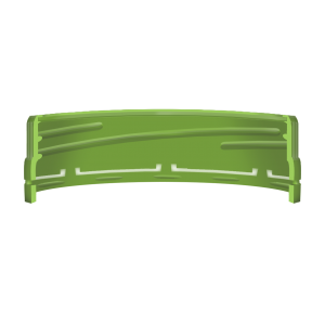 Illustration d'un bouchon à vis avec une bande d'inviolabilité droite moulée à crochets - coupe transversale