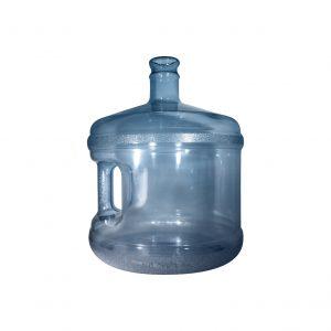 Bouteille (Cruche/Tourie) courte Bleu Transparent de 11,3 litres (11,3l) / 3 gallons (3gal) d'eau chaude HOD avec bague de finition 55 mm couronne et poignée droite pour les fermetures à pression Perspective