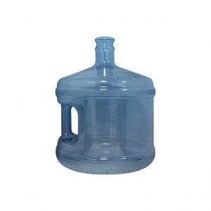 Bouteille (Cruche/Tourie) courte Bleu Transparent de 11,3 litres (11,3l) / 3 gallons (3gal) d'eau chaude HOD avec bague de finition 55 mm couronne et poignée droite pour les fermetures à pression Devant