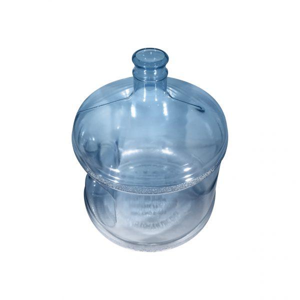 Bouteille (Cruche/Tourie) courte Bleu Transparent de 11,3 litres (11,3l) / 3 gallons (3gal) d'eau chaude HOD avec bague de finition 55 mm couronne et poignée droite pour les fermetures à pression Dessus