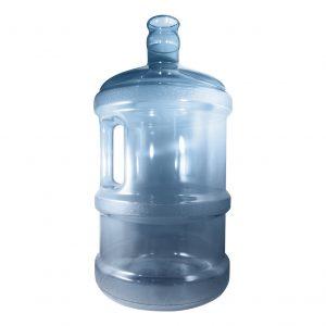 Bouteille (Cruche/Tourie) grande Bleu Transparent de 11,3 litres (11,3l) / 3 gallons (3gal) d'eau chaude HOD avec bague de finition 55 mm couronne et poignée droite pour les fermetures à pression Perspective