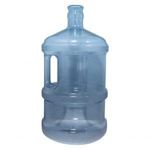 Bouteille (Cruche/Tourie) grande Bleu Transparent de 11,3 litres (11,3l) / 3 gallons (3gal) d'eau chaude HOD avec bague de finition 55 mm couronne et poignée droite pour les fermetures à pression Devant