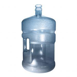 Bouteille (Cruche/Tourie) Bleu Transparent de 18,9 litres (18,9l) / 5 gallons (5gal) d'eau chaude HOD avec bague de finition 55 mm couronne et poignée droite pour les fermetures à pression Perspective