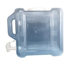 Bouteille bleu transparente pour réfrigérateur en PC de 7,5 litres (7,5 litres) / 2 gallons (2 gal) avec poignée et robinet - côté valve