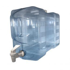 Bouteille bleu transparente pour réfrigérateur en PC de 11,3 litres (11,3 litres) / 3 gallons (3 gal) avec poignée et robinet - Perspective valve