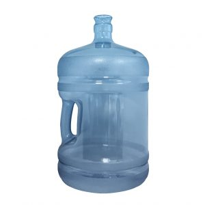 Bouteille (Cruche/Tourie) Bleu Transparent de 18,9 litres (18,9l) / 5 gallons (5gal) d'eau chaude HOD avec bague de finition 55 mm couronne et poignée incurvée pour les fermetures à pression Devant